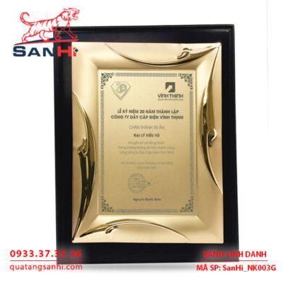 Bảng Vinh Danh Đồng mạ vàng SanHi-NK003G