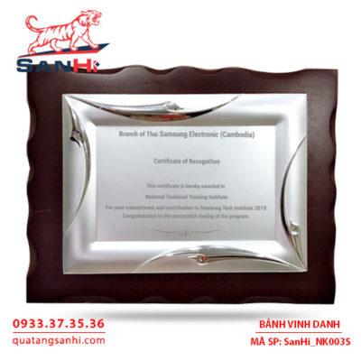 Bảng Vinh Danh Đồng mạ bạc SanHi-NK003S