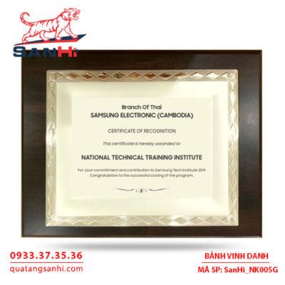Bảng Vinh Danh Đồng mạ vàng SanHi-NK005G