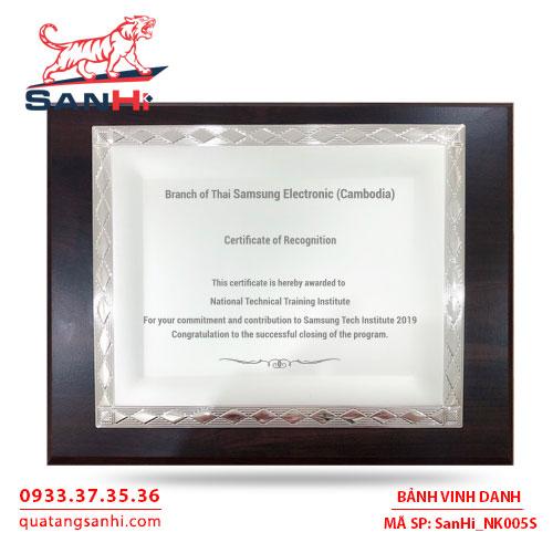 Bảng Vinh Danh Đồng mạ bạc SanHi-NK005S