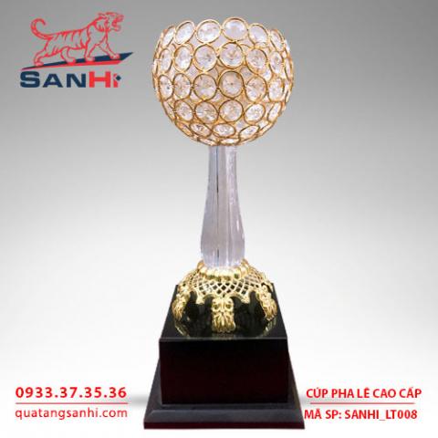 Cúp pha lê cao cấp chén vàng thân pha lê SanHi-LT008