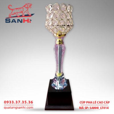 Cúp pha lê cao cấp chén thân vàng SanHi-LT014
